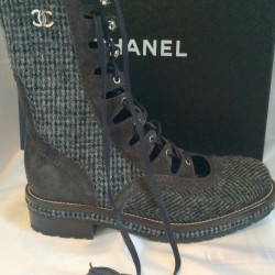 Chanel boots tweed